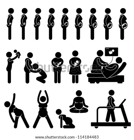 Pregnant Pregnancy Stages Process Prenatal Development Mother Baby Exercise Stick Figure Pictogram Icon - stock vector