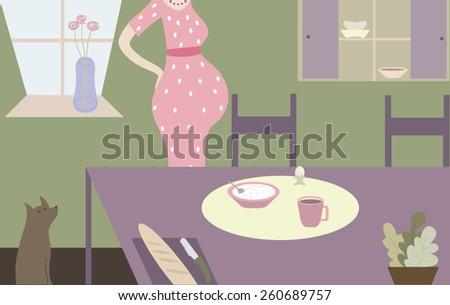 Pregnant woman - stock vector