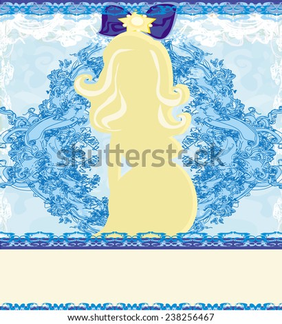 pregnant woman, baby shower card  - stock vector