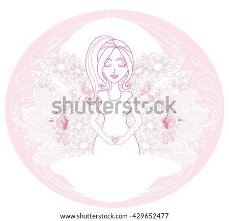 pregnant woman card - stock vector