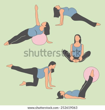 Pregnant Woman Exercise, Yoga, Planking Or Stretching (some with Exercise Balance Ball).  Fetus Baby Will Be Very Happy About His/Her New and Strong Muscles When Coming out of Comfortable Tummy Womb  - stock vector