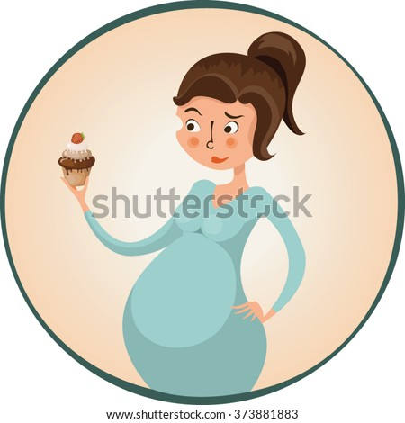 Pregnant woman holding cupcake, doubting, vector illustration, cartoon - stock vector