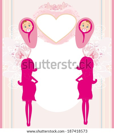 pregnant woman it has a birth to a girl - baby shower card  - stock vector