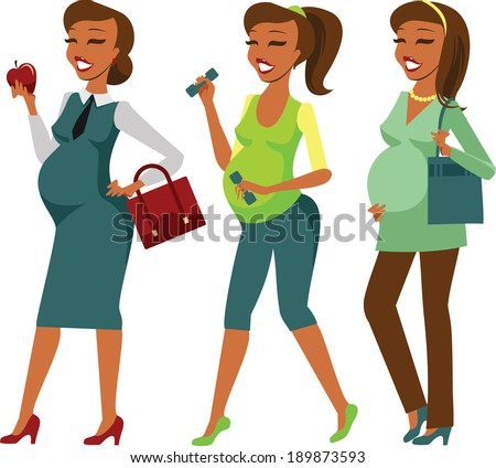 Pregnant woman lifestyle - stock vector