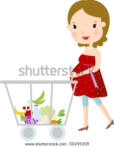 Pregnant Woman Shopping - stock vector