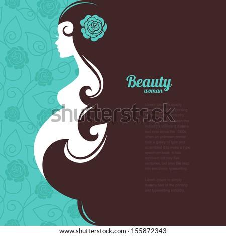 Pregnant woman silhouette - stock vector