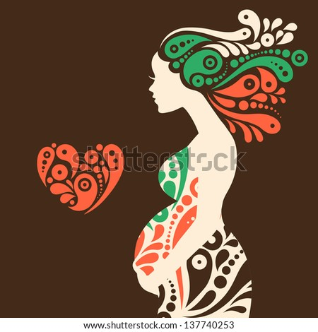 Pregnant woman silhouette with abstract decorative flowers and heart symbol - stock vector