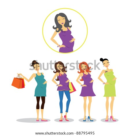 Pregnant women in different styles. - stock vector