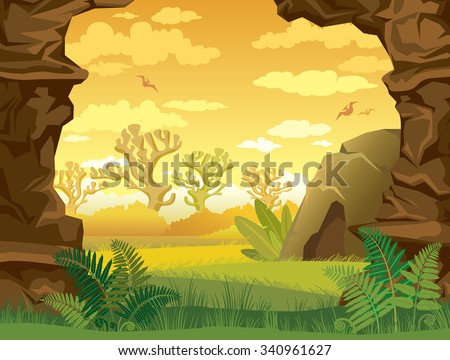 Prehistoric illustration with green grass, cave and walls of rock on a yellow cloudy sky. Nature vector landscape. - stock vector