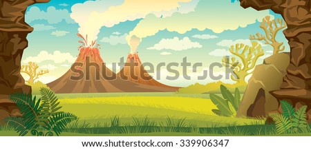 Prehistoric landscape - volcanoes with smoke, green grass, cave and walls of rock. Vector nature illustration. - stock vector