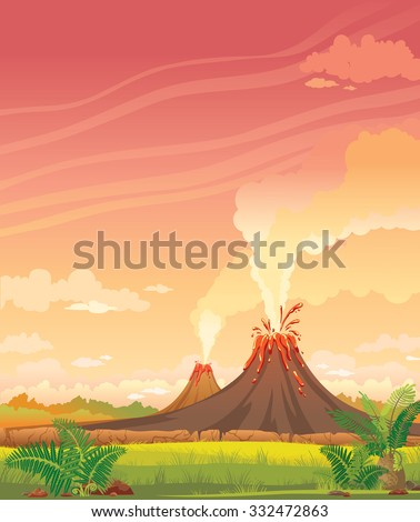 Prehistoric landscape with smoky volcanoes and green grass on a pink cloudy sky. - stock vector