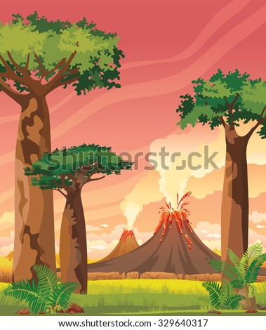 Prehistoric landscape with two smoky volcanoes and green baobabs on a pink sunset sky. Summer vector illustration. - stock vector