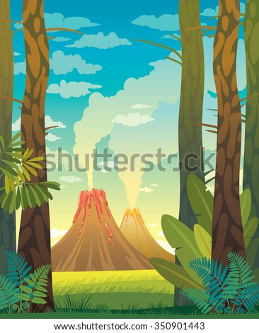 Prehistoric landscape with volcano, trees and fern on a blue cloudy sky. Natural vector illustration. - stock vector