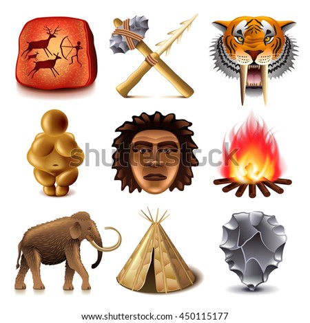 Prehistoric people icons detailed photo realistic vector set - stock vector