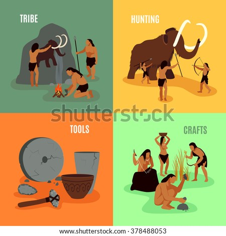 Prehistoric stone age caveman being elements tribe hunting tools and crafts flat 2x2 images set vector illustration - stock vector