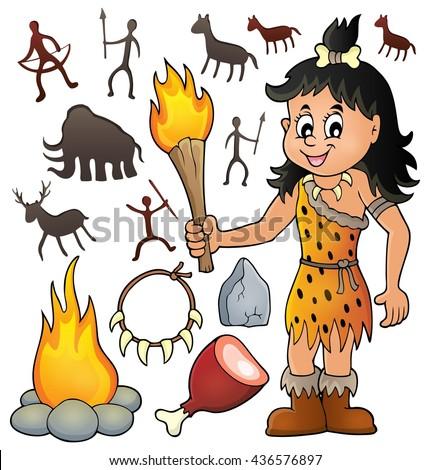 Prehistoric theme set 3 - eps10 vector illustration. - stock vector