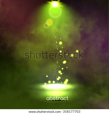 Premiere Green Show background sparkles. Smoky vector stage shining with rays spotlight on glowing particles - stock vector