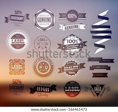 Premium and High Quality transparent  Label  on blur background / Icon - stock vector