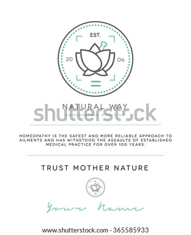 PREMIUM BRAND & LOGO CONCEPT FOR HOMEOPATHIC OR NATURAL COSMETIC PRODUCTS COMPANY OR PROFESSIONAL - stock vector