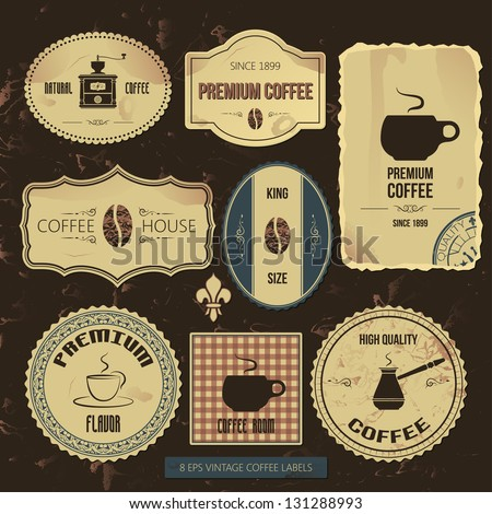premium coffee vintage labels - stock vector