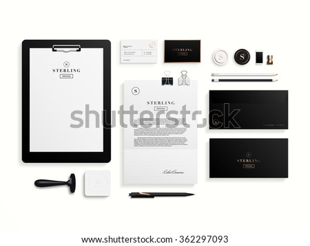 Premium corporate identity template set. Business stationery mock-up with logo template. Set of envelope, card, folder, etc. Vector illustration. - stock vector