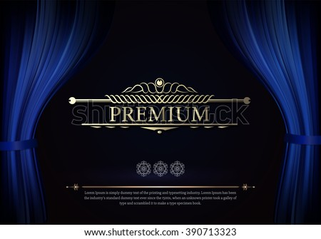 Premium Dark blue curtain scene gracefully. Cover with vertical motion blur and text. Like curtains in theater. Elegance vector backdrop with vintage sign - stock vector