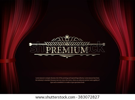 Premium Dark red curtain scene gracefully. Cover with vertical motion blur and text premium. Like curtains in theater. Elegance vector backdrop with vintage sign - stock vector