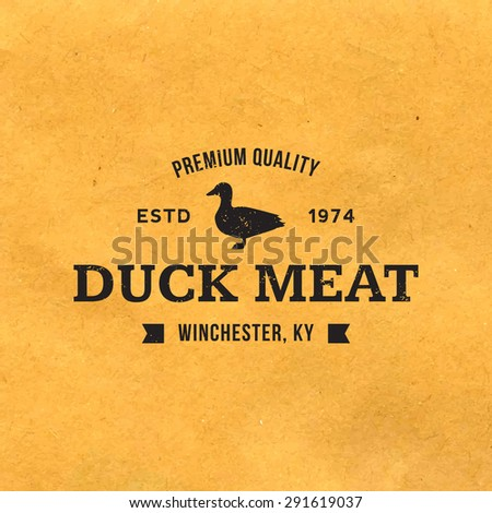 premium duck meat label with grunge texture on old paper background - stock vector