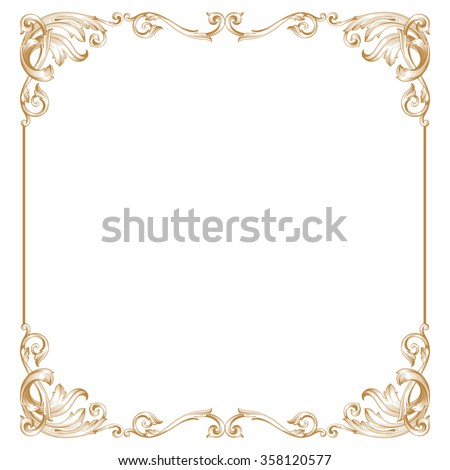 Premium Gold vintage baroque frame scroll ornament engraving border floral retro pattern antique style acanthus foliage swirl decorative design element filigree calligraphy - stock vector