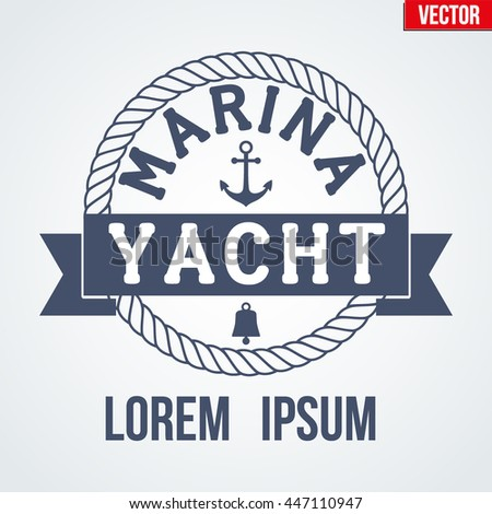 Premium Nautical Yacht logo. Vector Illustration isolated on white background. - stock vector