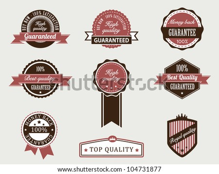 Premium Quality and Guarantee Badges with retro vintage style - stock vector