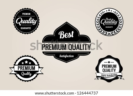 Premium quality and guarantee labels collection with black and white vintage design - stock vector