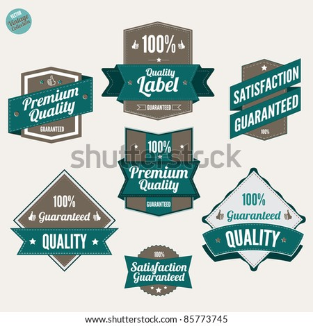 Premium Quality and Satisfaction Guarantee labels  with retro vintage design - stock vector