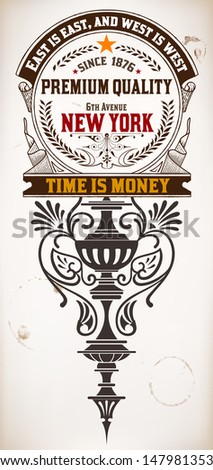 Premium Quality card. Baroque ornaments and floral details   Old paper texture background, - stock vector