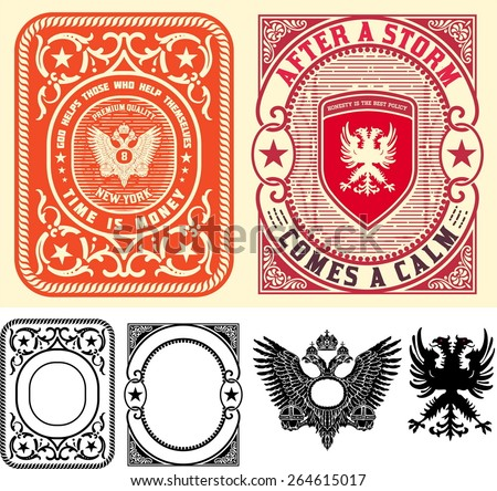 Premium Quality Cards set. Baroque ornaments and floral details. Organized by layers - stock vector