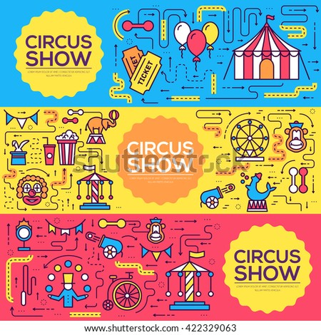 Premium quality circus outline icons infographic set. Festival linear symbol pack. Modern show template of thin line, logo, symbols, pictogram and flat illustrations vector concept banners - stock vector