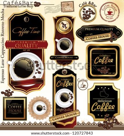 Premium quality coffee house label, vector illustration - stock vector