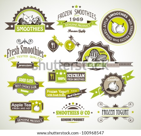 Premium quality collection of Fruits Smoothies, Tea and frozen yogurt labels with different styles and space for text. - stock vector