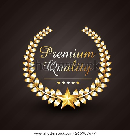 premium quality golden award vector design illustration with stars - stock vector