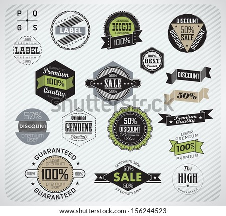 Premium Quality, Guarantee and sale Labels  and typography design/ illustration  - stock vector