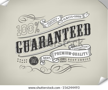 Premium Quality, Guarantee and sale Labels  and typography design/ Vector - stock vector