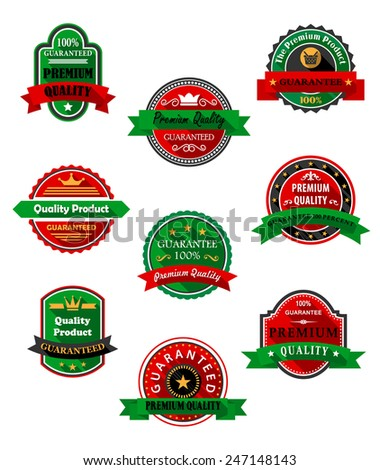 Premium quality guarantee flat labels in red and green colors with ribbon banners, stars, crowns and long shadows for promotion and advertising design - stock vector