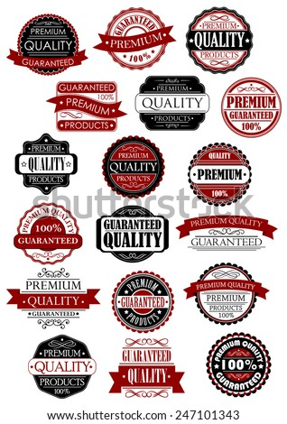 Premium quality guarantee retro labels and banners in black and red colors for product promo design - stock vector