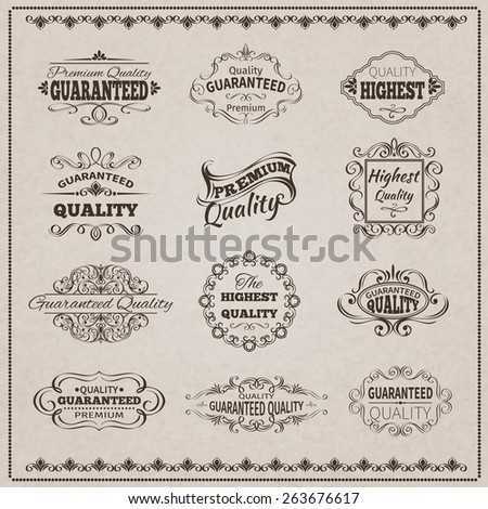 Premium quality guaranteed vintage emblems filigree calligraphic set isolated vector illustration - stock vector