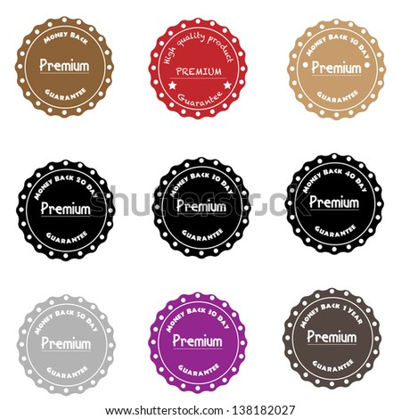 Premium Quality Label Collection in Vintage Style, Money back - stock vector