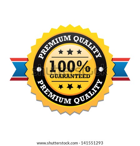 Premium Quality Label With Ribbon - stock vector