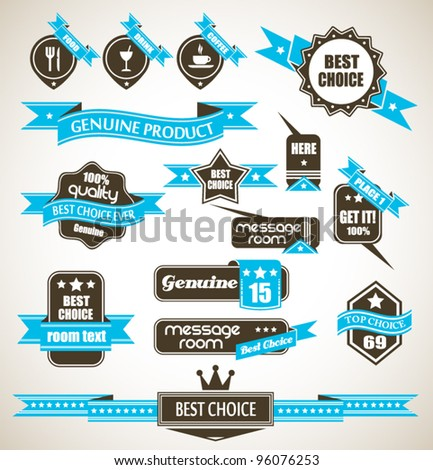 Premium Quality Labels - Collection of retro bi-colours vintage labels with several slogans: Best Choice, Premium Quality, Top Choice and so on. - stock vector