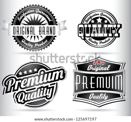 premium quality labels in black and white - stock vector