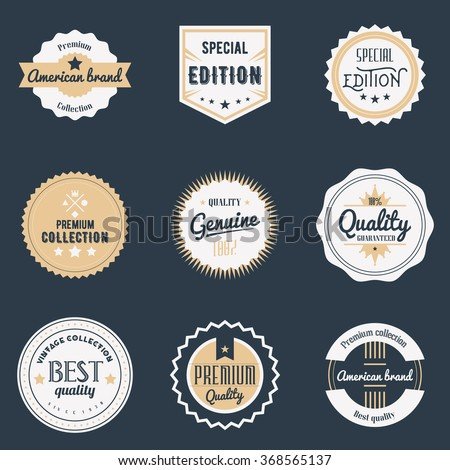 Premium quality labels set. Brands design elements, emblems, logo, badges and stickers. Isolated vector illustration. - stock vector