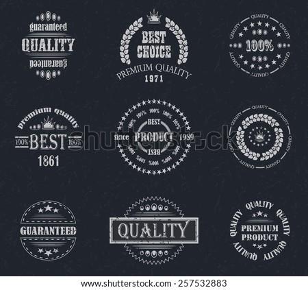 Premium quality labels set. Retro Vintage Design. Grunge background       - stock vector